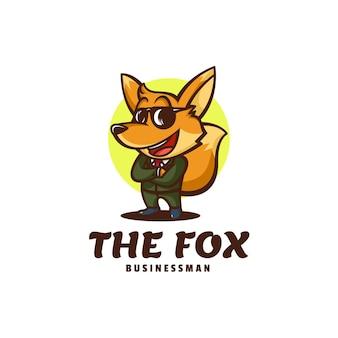 Logo template of businessman fox mascot cartoon style.