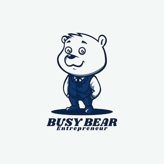 Logo template of busy bear mascot cartoon style
