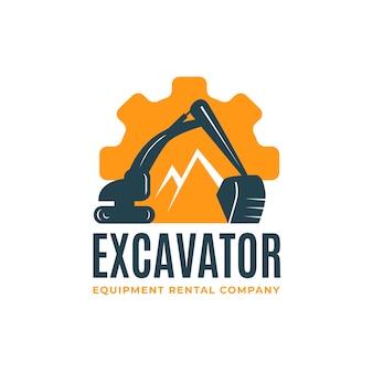 Modello di logo per la costruzione con l'escavatore
