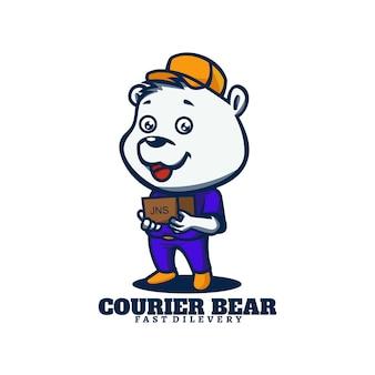 Logo template of courier bear mascot cartoon style