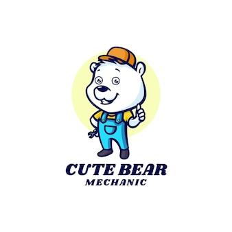 Logo template of cute bear mascot cartoon style