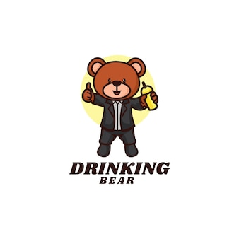 Logo template of drinking bear mascot cartoon style.