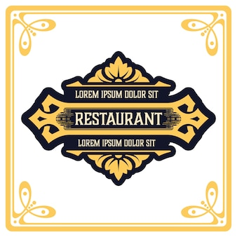 Logo template elegant with ornament lines. sign for restaurant or other business