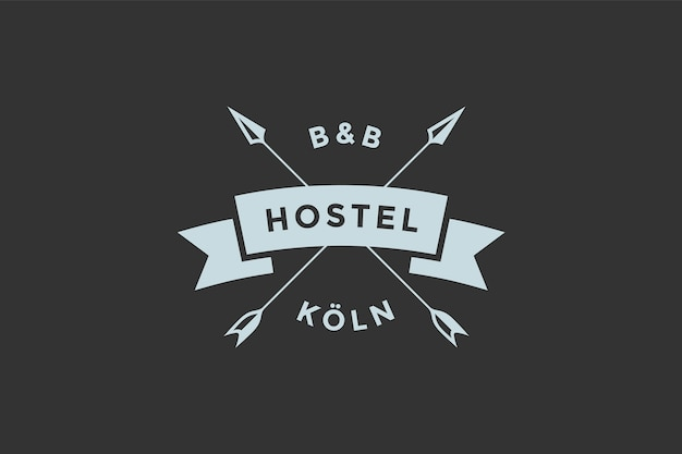 빈티지 복고 스타일의 호스텔이나 호텔 로고 템플릿.