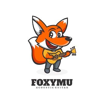 Logo template of fox music mascot cartoon style.