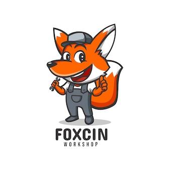 Logo template of fox workshop mascot cartoon style.