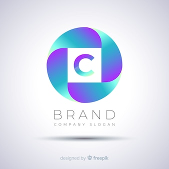 Logo template gradient abstract spherical