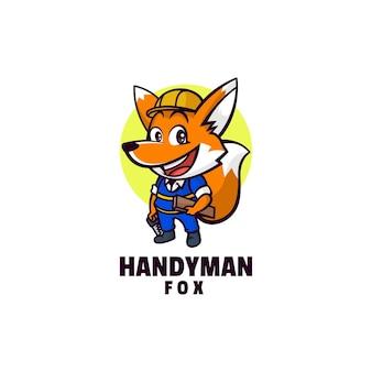 Logo template of handyman fox mascot cartoon style.