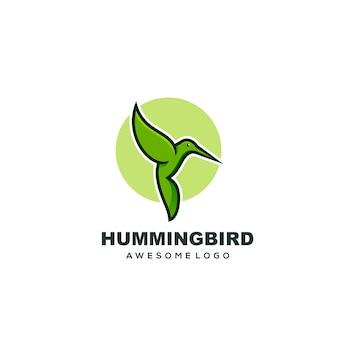 로고 템플릿 벌새 간단한 마스코트 다채로운 로고