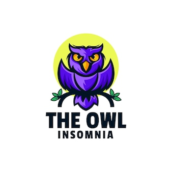 Logo template of insomnia owl simple mascot style