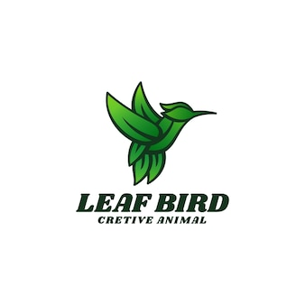 Logo template of leaf bird simple mascot style