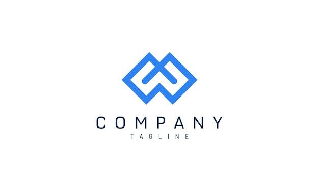 Шаблон логотипа буква m в жирной синей геометрии