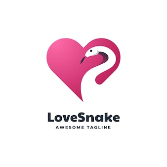 Logo template of love snake negative space style.