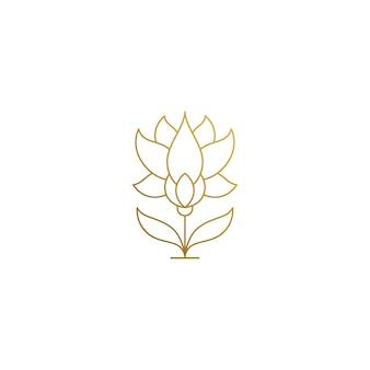 曲がった茎を持つ美しい成長花のロゴテンプレート