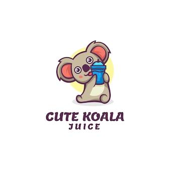 かわいいコアラのマスコット漫画スタイルのロゴテンプレート