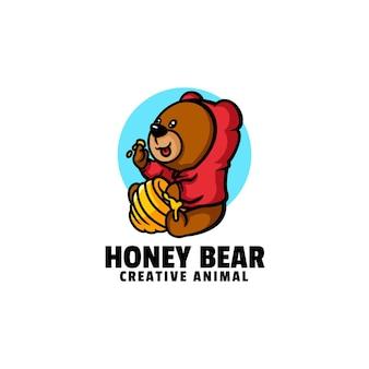 Шаблон логотипа медового медведя талисман мультяшном стиле