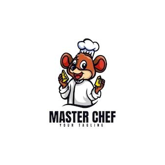 마스터 요리사 마우스 마스코트 만화 스타일의 로고 템플릿