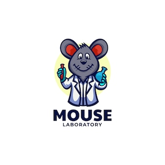마우스 실험실 마스코트 만화 스타일의 로고 템플릿