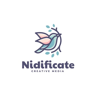 Шаблон логотипа в стиле простого талисмана nidificate bird