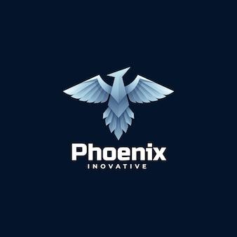Шаблон логотипа феникс градиент красочный стиль