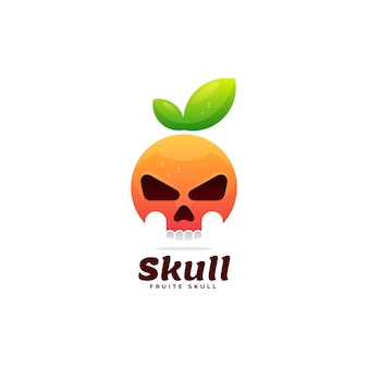 Шаблон логотипа черепа градиент красочный стиль