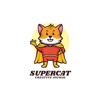 スーパーキャットマスコット漫画スタイルのロゴテンプレート