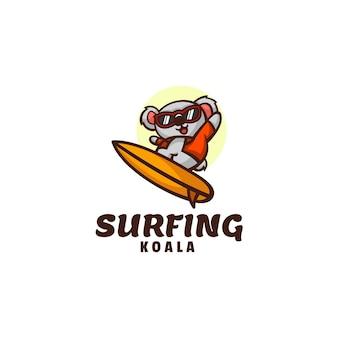サーフィンコアラマスコット漫画スタイルのロゴテンプレート