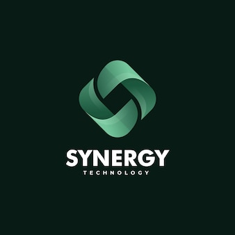 시너지 기술 그라데이션 다채로운 스타일의 로고 템플릿