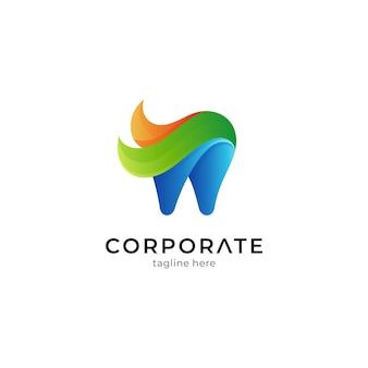 グラデーションカラーの歯の組み合わせの葉のロゴテンプレート