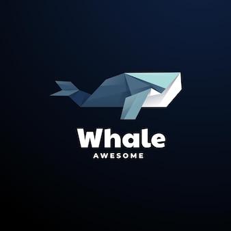 Шаблон логотипа стиля многоугольника кита