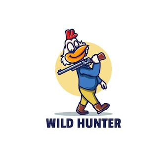 Шаблон логотипа талисмана дикого охотника в мультяшном стиле