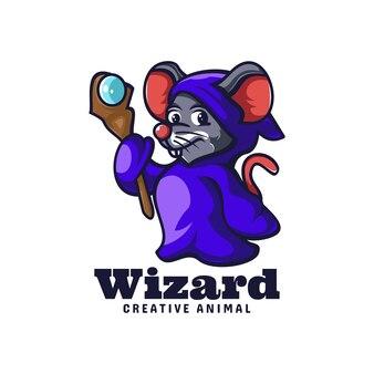 마법사 마우스 마스코트 만화 스타일의 로고 템플릿