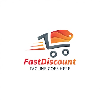 Logo template for online shop or store, fast shopping illustration