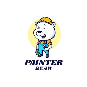 Logo template of painter bear mascot cartoon style