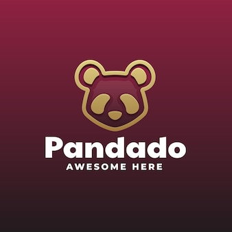 Logo template of panda gradient line art style