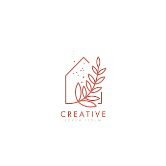 Logo template in simple minimal linear style. home decor concept