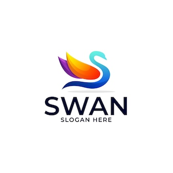 Logo template of swan gradient colorful style