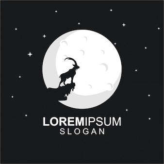 Logo template with goat and moon at night