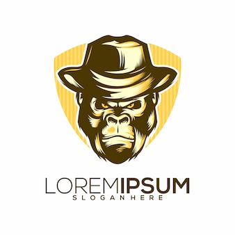 Logo template with gorilla face