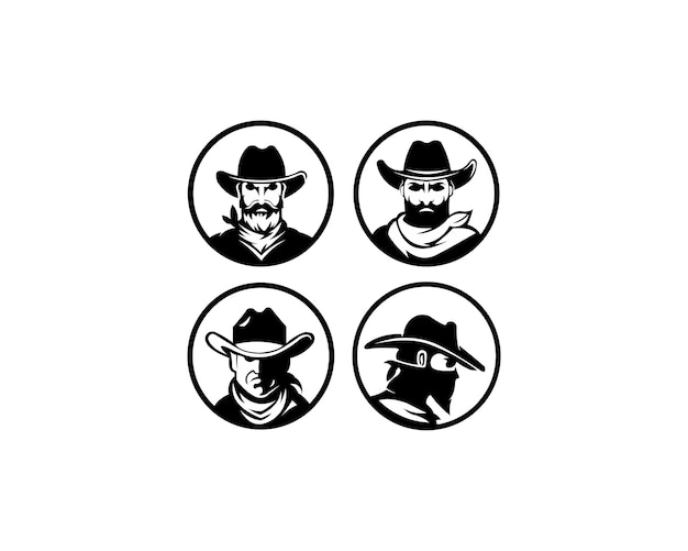Logo template with the image of the man in hat.