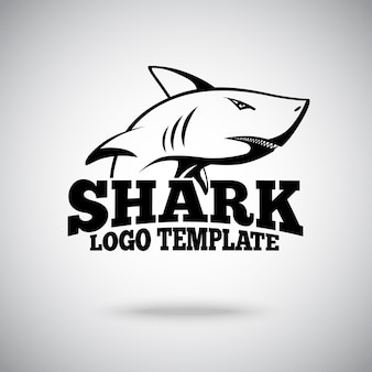Logo template with shark, for sport teams, brands etc.