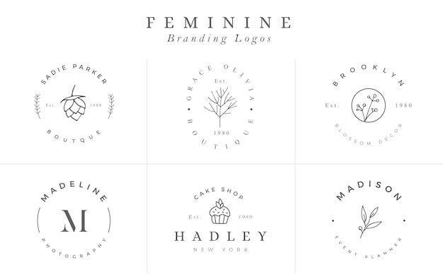 Logo templates collection. logo set. minimalist logotypes. premade logo design - vector