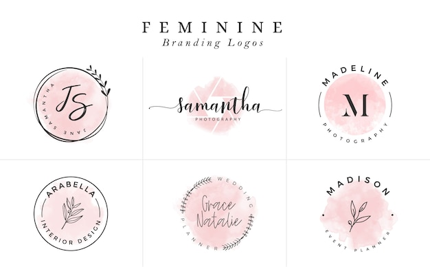 Logo templates collection. logo set. minimalist logotypes. premade logo design