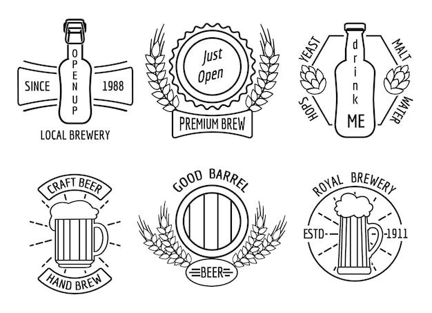 Шаблоны логотипов для пивоварни и крафтовой пивоварни в линейном стиле