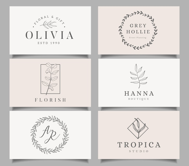 Logo templates set. elegant logo design with leaves, branch and wreath