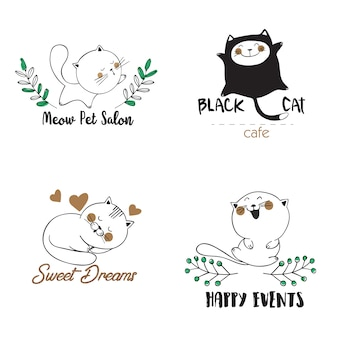 Logo templates with cats