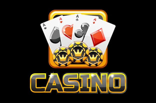 Logo text casino and icon on black background, for ui game
