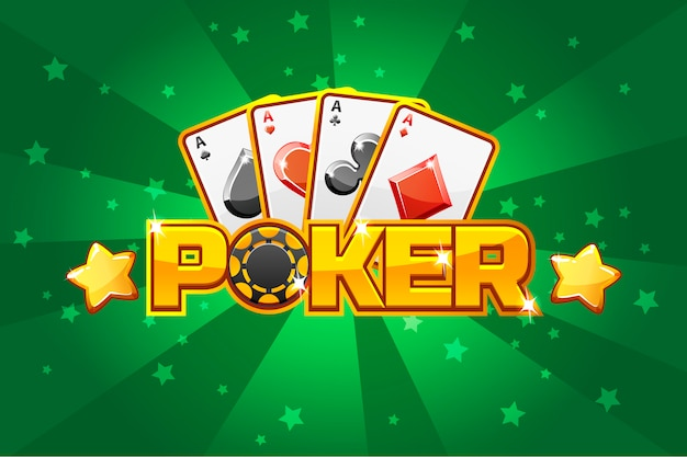 Logo text poker and playing cards