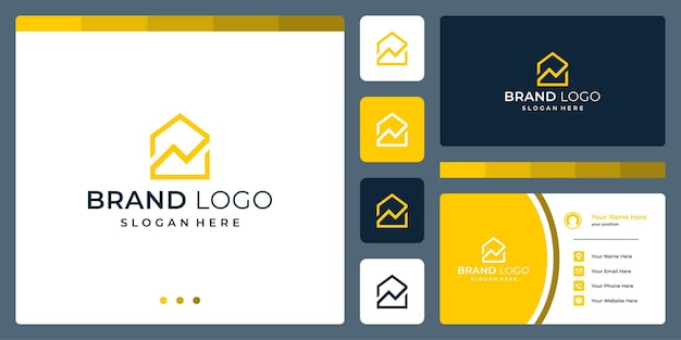 Logo that combines house shapes and analytic. business cards.