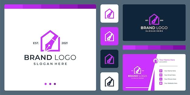 Логотип, сочетающий в себе формы дома и абстрактную форму пера. визитные карточки.